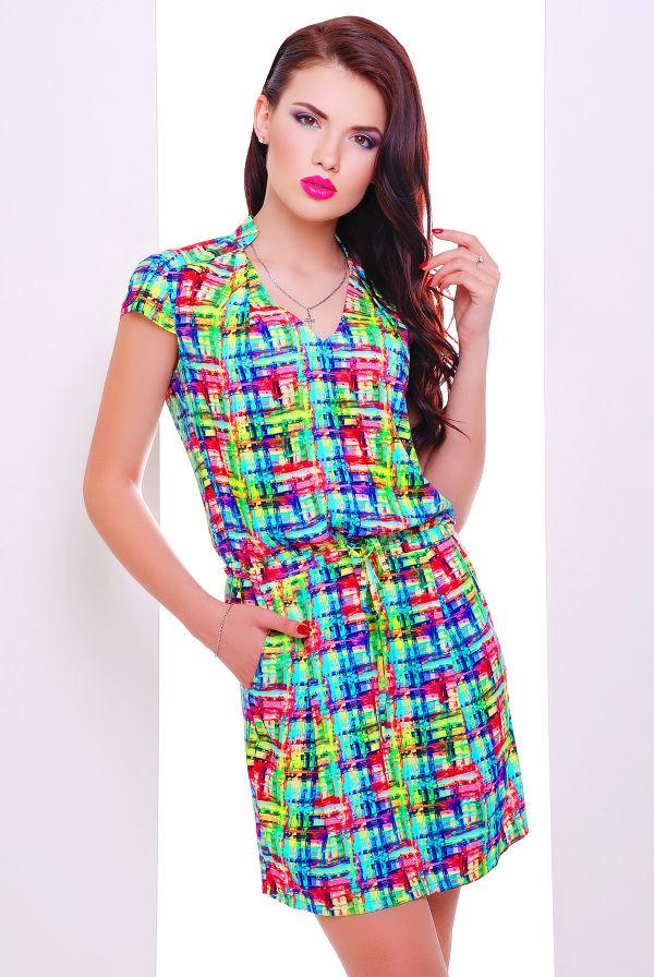 ad2bb1a3c94 Платье с карманами и ярким принтом