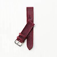 Кожаный бордовый ремешок для часов