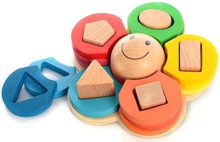 Пирамидка-геометрик «Цветок»,деревянная
