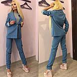 Женский стильный джинсовый костюм-двойка: пиджак и штаны + ( Большие Размеры), фото 2