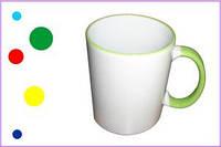 Печать на чашках белых с цветным ободком и ручкой, 310 мл.