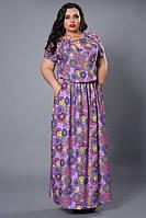 Нарядное женское платье больших размеров в нежно-сиреневом цвете с абстрактным рисунком