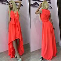 Женское стильное шифоновое платье в пол с асимметрией по низу + (Большие размеры)  46