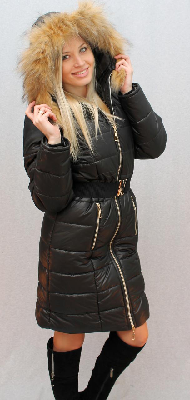 """Зимнее пальто с капюшоном и мехом """"Алена"""" (42-58) черное"""