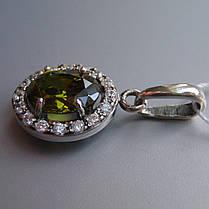 Серебряная подвеска с большим цветным фианитом, фото 3