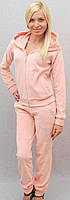 Велюровый костюм со стразами  персик, фото 1