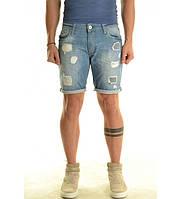 Шорты мужские джинсовые голубые с потертостями Xagon man