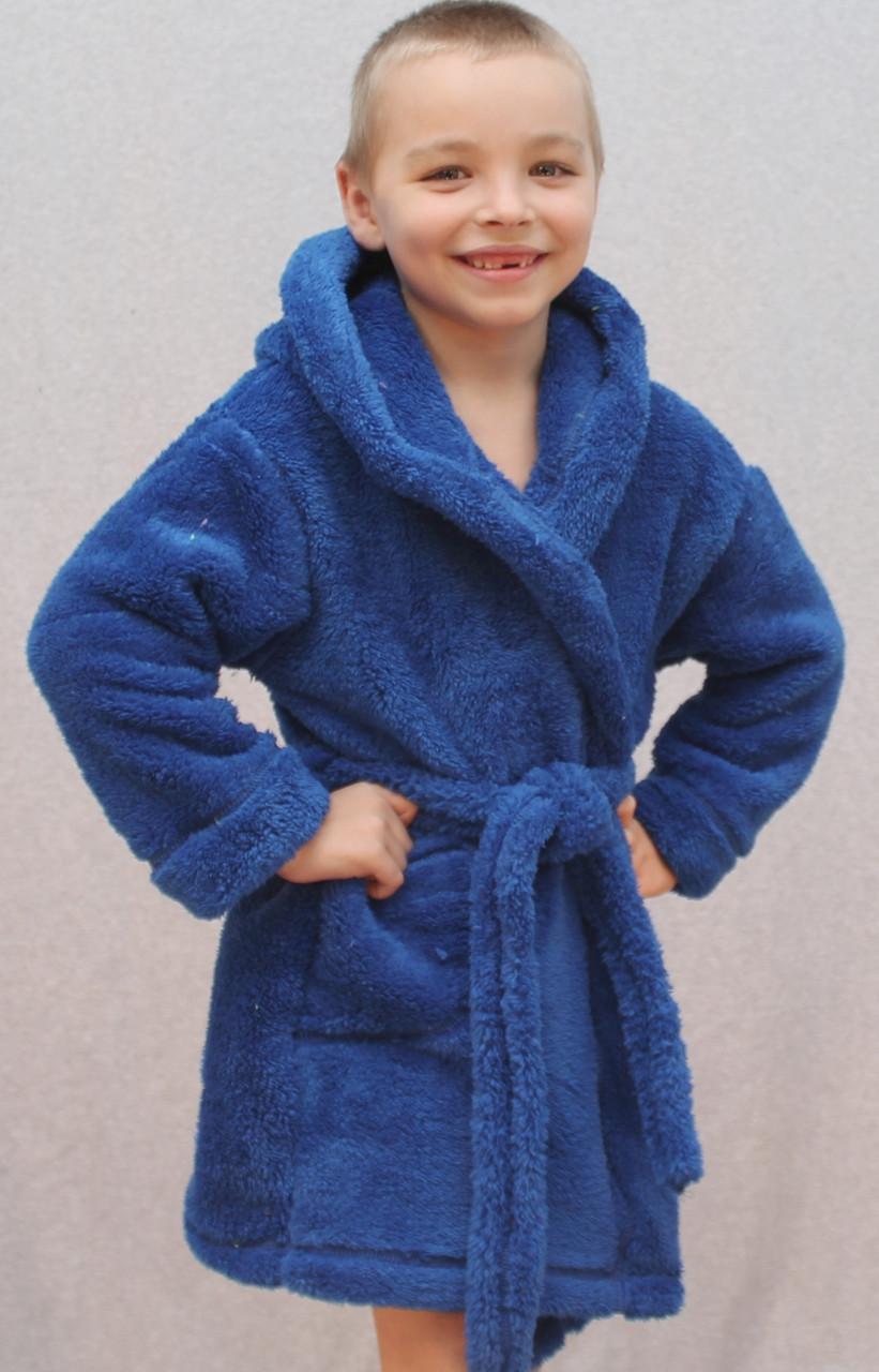 Халат детский махровый Ушки синий