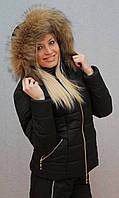 """Очень теплый зимний женский костюм на синтепоне"""" Арина"""" (42-54 р-ры)  чёрный, фото 1"""