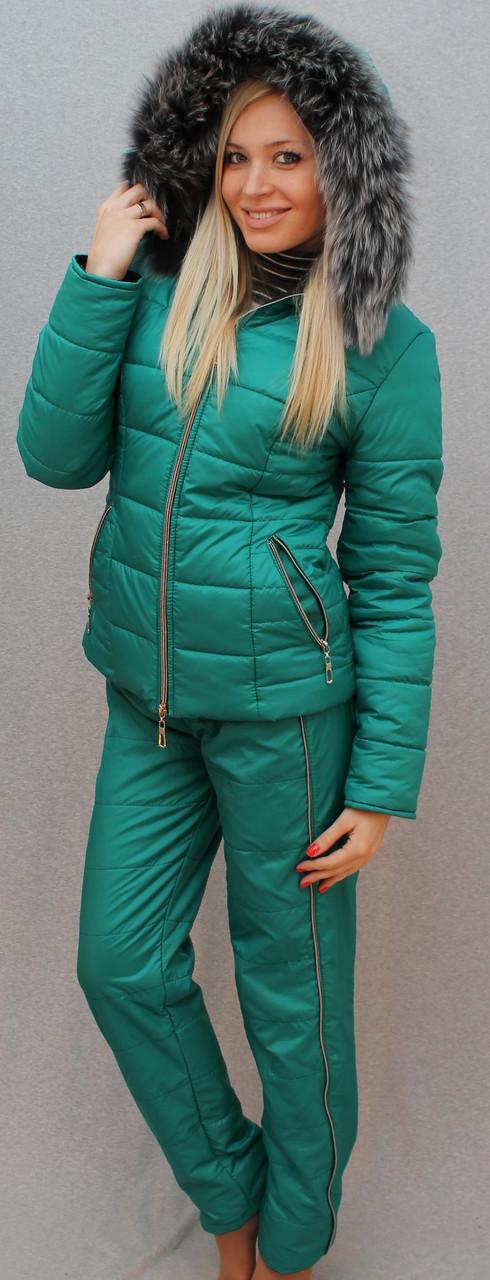 """Очень теплый зимний женский костюм на синтепоне"""" Арина"""" (42-54 р-ры)    бирюзовый"""
