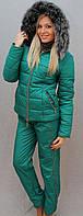 """Очень теплый зимний женский костюм на синтепоне"""" Арина"""" (42-54 р-ры)    бирюзовый, фото 1"""