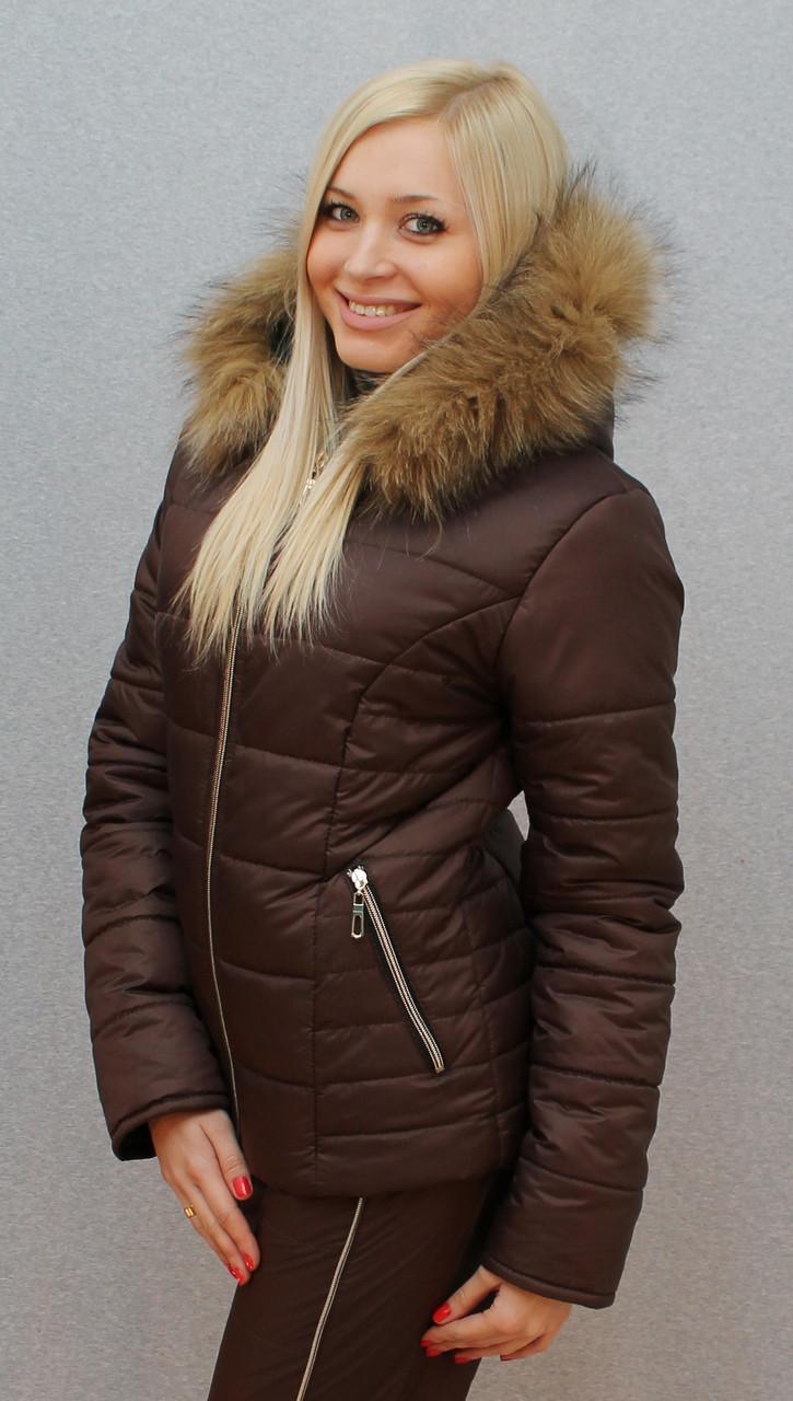 """Очень теплый зимний женский костюм на синтепоне"""" Арина"""" (42-54 р-ры)  коричневый"""