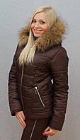 """Очень теплый зимний женский костюм на синтепоне"""" Арина"""" (42-54 р-ры)  коричневый, фото 1"""