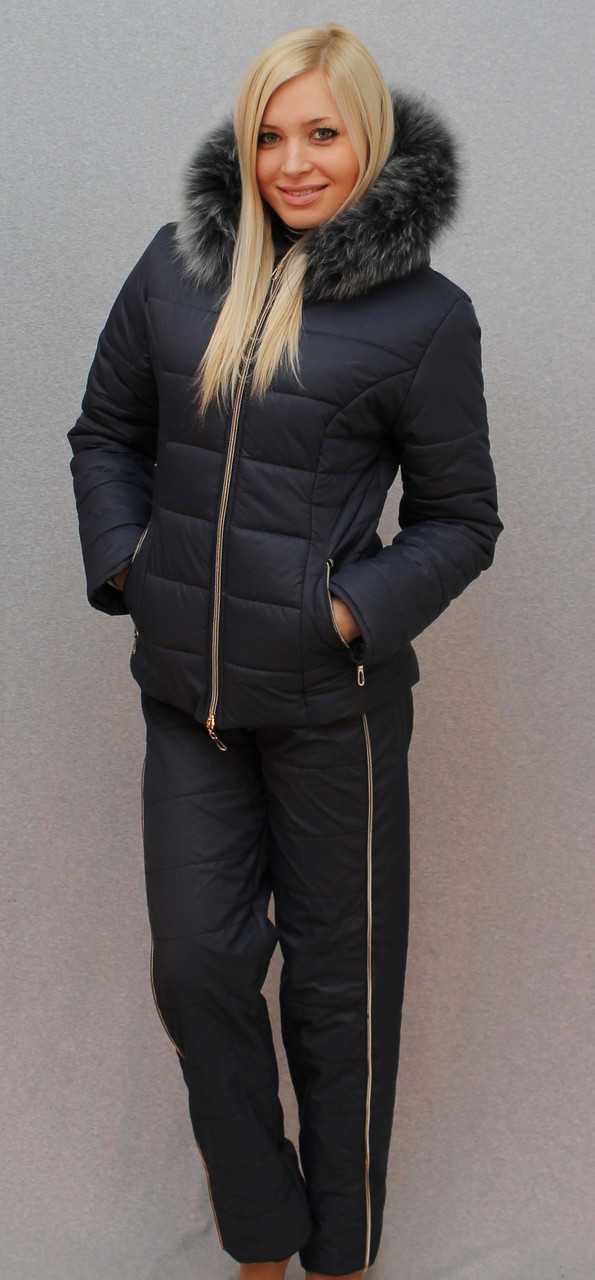 """Очень теплый зимний женский костюм на синтепоне"""" Арина"""" (42-54 р-ры)   синий, фото 1"""