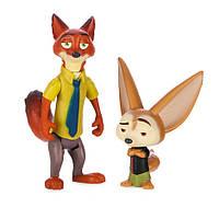 Зверополис набор фигурок Ник Уайлд Лис и Фенек / финник лисенок / Zootopia Disney
