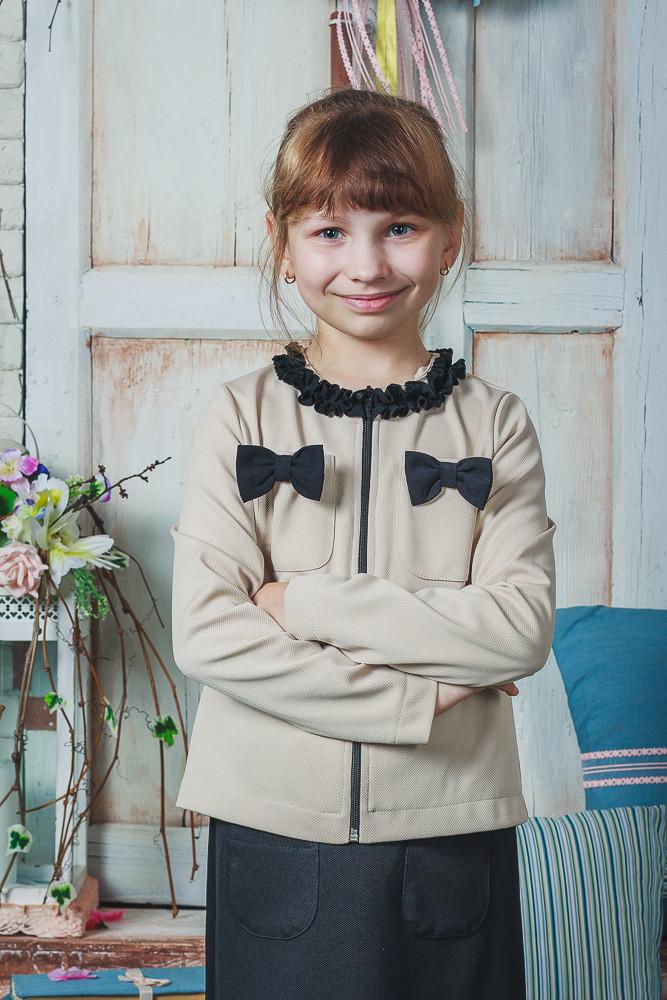 Школьная форма для девочки юбка+жакет беж