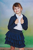 Костюм для девочки: юбкаа и болеро, темно-синий