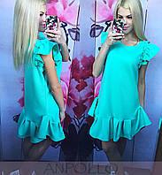 Платье летнее с присобранным рукавом и низом юбки