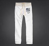 Мужские спортивные трикотажные зауженные (скинни) штаны Hollister - белые, синие
