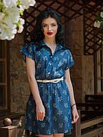 Летнее джинсовое платье Лина в цветочек с белым поясом в комплекте