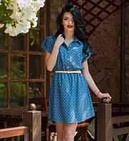 """Молодежное летнее платье-рубашка из тонкого джинса в принт """"сердечки"""""""