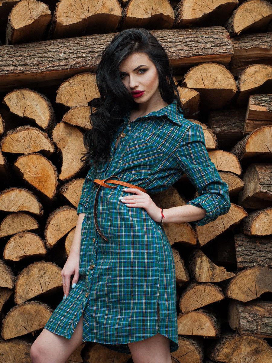 198c0d94f3d8e Молодежное летнее платье-рубашка в зеленую клетку застегивается на пуговицы