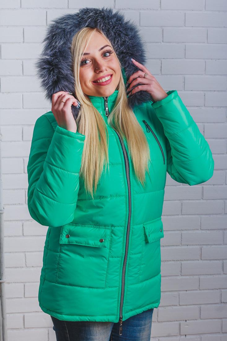 """Зимняя удлиненная женская куртка """"Анютка"""" 42-54  мята"""