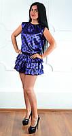 Красивое женское коротенькое платье фиолетового цвета