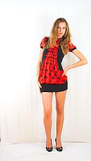 Плаття чорне з червоним шифоновим жабо, фото 2