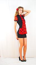 Плаття чорне з червоним шифоновим жабо, фото 3