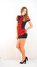Платье черное с красным шифоновим жабо, фото 3