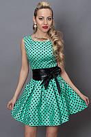 Нежное бирюзовое летнее молодёжное платье в горошек