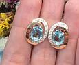 Серебряный комплект кольцо и серьги с золотом и голубыми камнями 34086-34087, фото 7