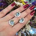 Серебряный комплект кольцо и серьги с золотом и голубыми камнями 34086-34087, фото 4