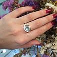 Серебряный комплект кольцо и серьги с золотом и голубыми камнями 34086-34087, фото 8