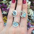 Серебряный комплект кольцо и серьги с золотом и голубыми камнями 34086-34087, фото 9