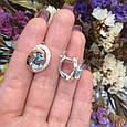 Серебряный комплект кольцо и серьги с золотом и голубыми камнями 34086-34087, фото 10