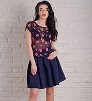 Стильная молодежная блуза из принтованого шифона с открытой спиной