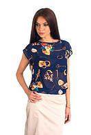 Интригующая шифоновая блуза с рисунком спинка открытая