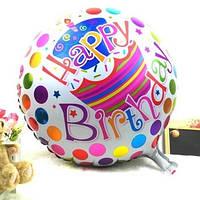 Воздушный фольгированный шарик Happy Birthday с тортом