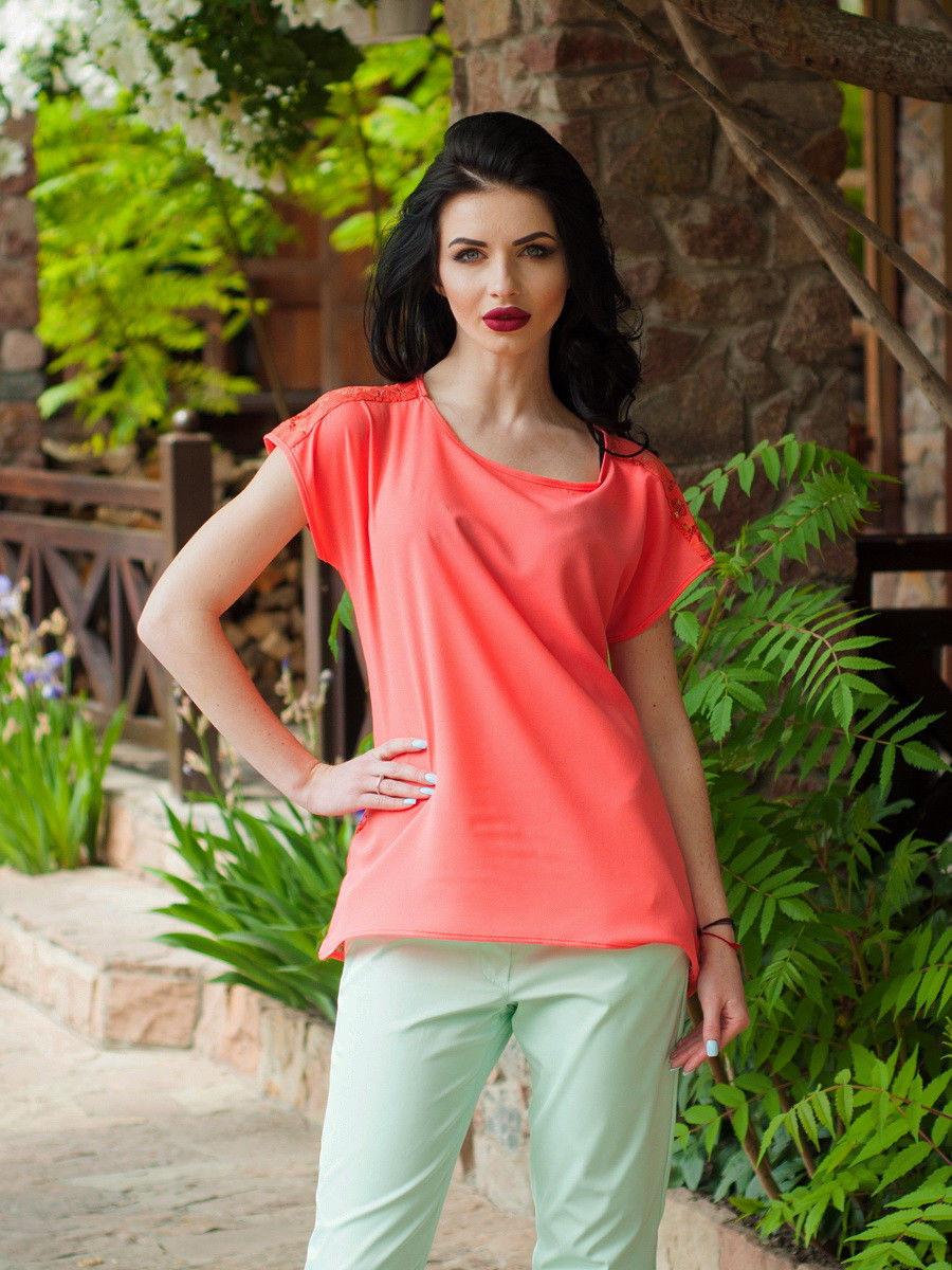 c1590b96e0c Яркая летняя блуза из шифона с гипюровой вставкой по спинке -  Оптово-розничный магазин одежды