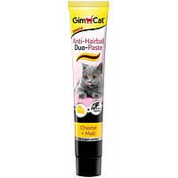 Паста GimCat Anti-Hairball Duo Paste Cheese&Malt для выведения комков шерсти у кошек с сыром, 50 г