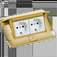 54016 Legrand Выдвижной розеточный блок в стол или пол 4-модульный, цвет латунь