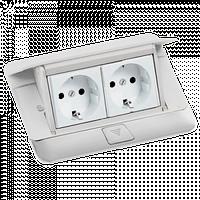 54031 Выдвижной розеточный блок в стол или пол 4-модульный, цвет белый (временно не завозиться в Украину)