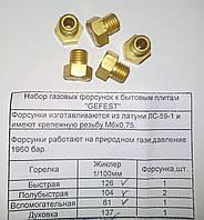 """Набор газовых форсунок к бытовым плитам """"GEFEST""""(природный газ) код товара: 7079"""