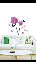 Виниловая наклейка на стену цветок  розовый 60*33 см