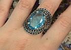 Серебряное кольцо с черными и голубыми камнями 34090