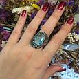 Серебряное кольцо с черными и голубыми камнями 34090, фото 2
