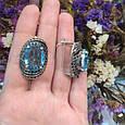 Серебряное кольцо с черными и голубыми камнями 34090, фото 9