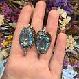 Серебряное кольцо с черными и голубыми камнями 34090, фото 10